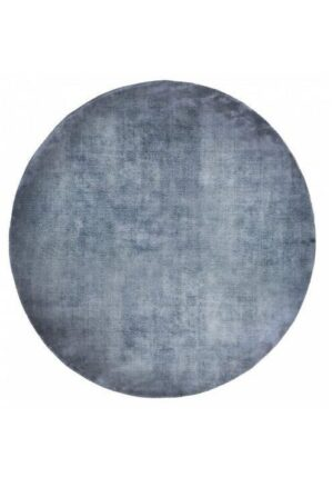 Dywan Carpet Decor Linen Dark Blue Handmade Collection Round